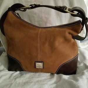 Dooney & Bourke Leather Suede Zip Top Hobo Bag